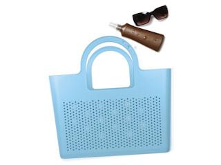 Designerski piknik, stylowa plaża z torbami moimio.