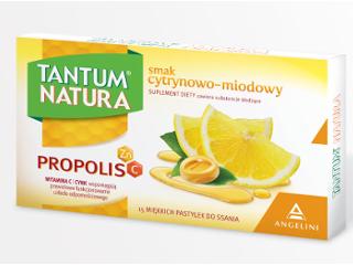 Tantum Natura z propolisem i witaminą C na ból i suchość gardła.