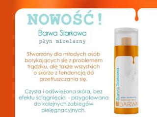 Płyn micelarny Barwa Siarkowa do cery trądzikowej.
