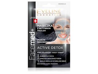 Maseczka z aktywnym węglem przeciw niedoskonałościom z linii Facemed+ Eveline Cosmetics.