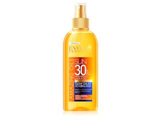 Suchy olejek do opalania SPF 30 makadamia & kukui oils Eveline Cosmetics.