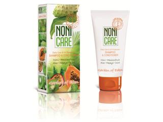Owocowa świeżość włosów z szamponem-odżywką Noni Care Garden of Eden.