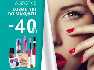 Promocja w Drogeriach Natura - kosmetyki do makijażu -40%.