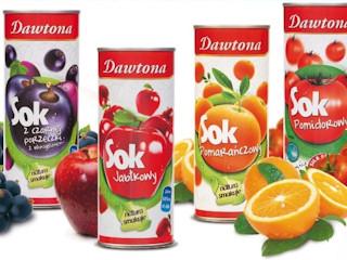 Nowe opakowania soków Dawtona.
